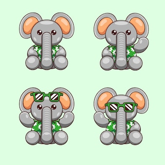 Cartoon illustration of elephant with summer shirt ready for the world ocean day