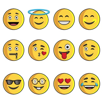 Cartoon illustration of emoji set.