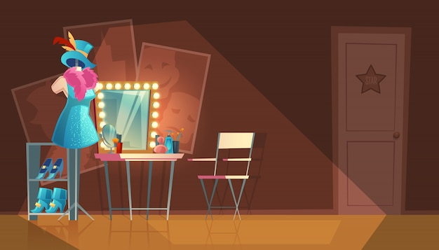 Cartoon illustration of empty dressing room, wardrobe with furniture, dresser