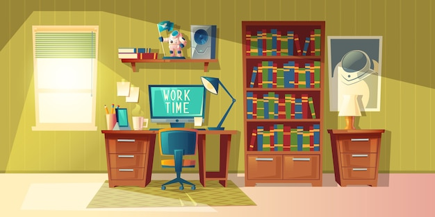 Cartoon illustration of empty home office with bookcase, modern interior with furniture.