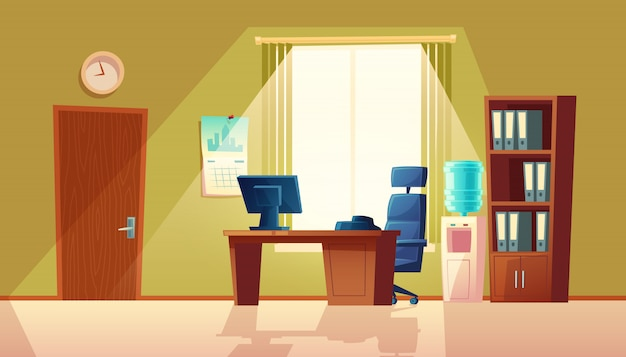 Cartoon illustration of empty office with window, modern interior with furniture.