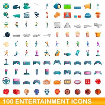 Cartoon illustration of entertainment icons set isolated on white