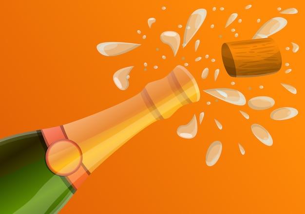 Cartoon illustration of explosion champagne bottle