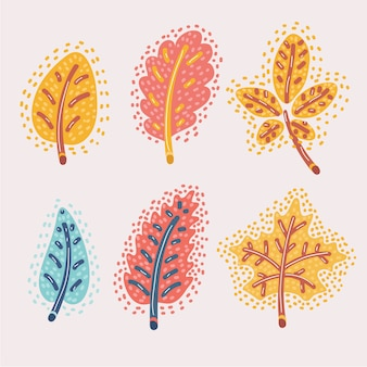 Cartoon illustration of fallen autumn leaves set. red, yellow oak, chestnut, espe. modern concept of autumn theme.