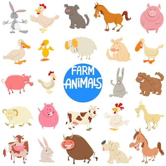 Cartoon illustration of farm animal characters set