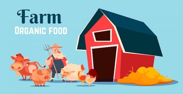 Cartoon illustration of a farm with a barn, animals and a farmer.