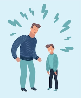 Cartoon illustration of father scolding his son