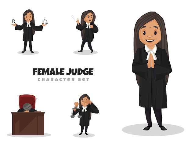 Cartoon illustration of female judge character set