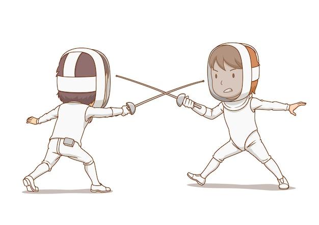 Cartoon illustration of fencing athletes.