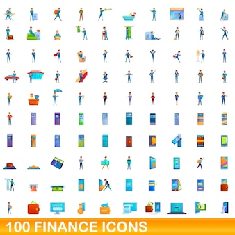 Cartoon illustration of finance icons set isolated on white