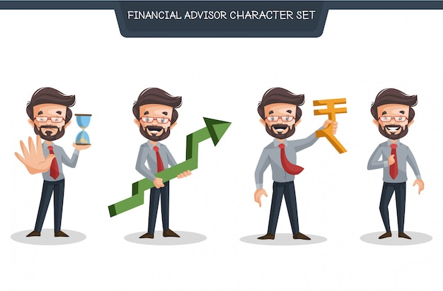 Cartoon illustration of financial advisor character set