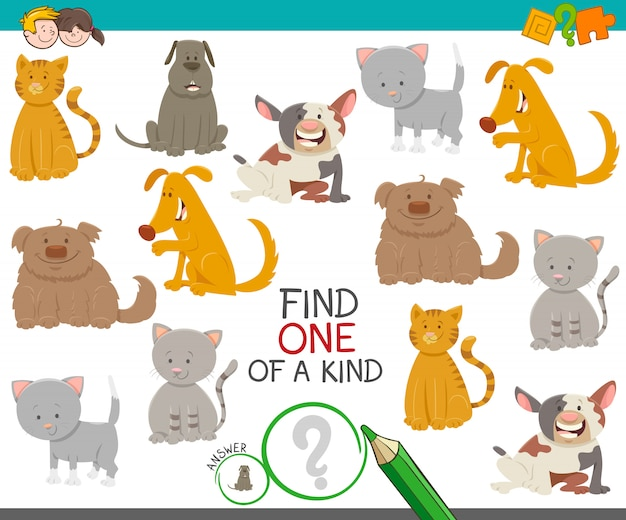 Cartoon illustration of find one of a kind picture educational activity game with cute dogs and cats animal characters