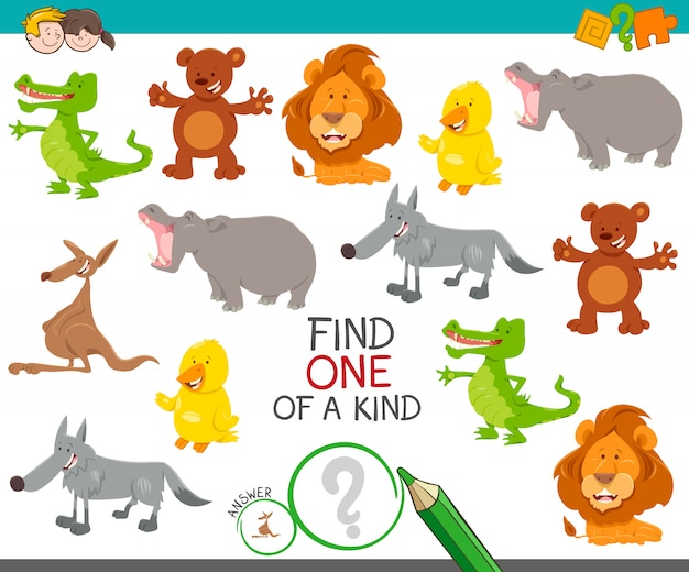 Cartoon illustration of find one of a kind picture educational activity game with cute wild animal characters