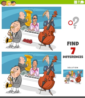 Cartoon illustration of finding differences educational game for children with jazz band musicians characters