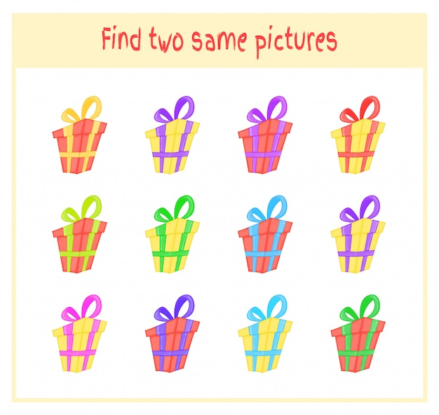 Cartoon  illustration of finding two exactly the same pictures