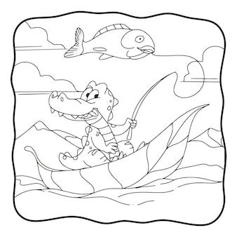 Мультфильм иллюстрация рыбалка крокодил книжка-раскраска или страница для детей черно-белая