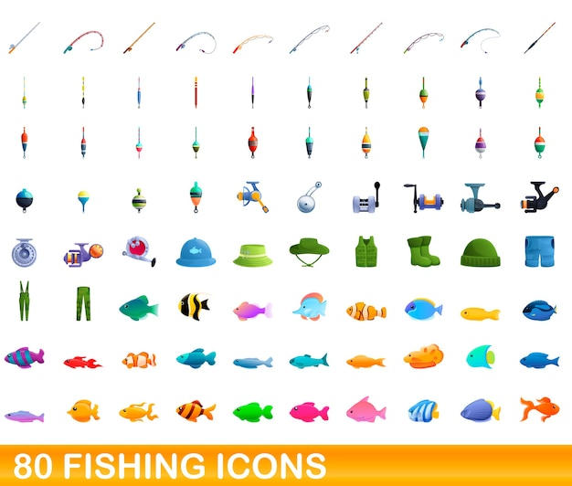 Cartoon illustration of fishing icons set isolated on white
