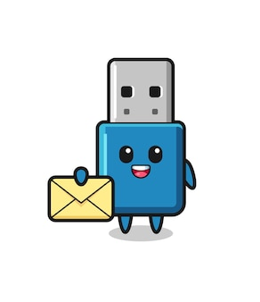 Cartoon illustration of flash drive usb holding a yellow letter , cute style design for t shirt, sticker, logo element