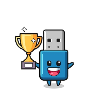 Cartoon illustration of flash drive usb is happy holding up the golden trophy , cute style design for t shirt, sticker, logo element