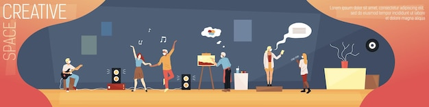 Cartoon illustration in flat style with writing. colorful composition of creative space design concept