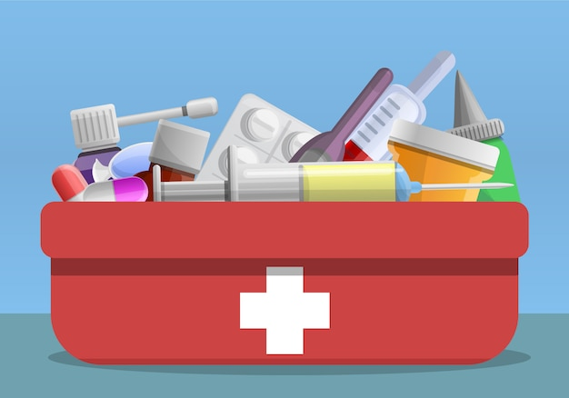 Cartoon illustration of flu first aid kit