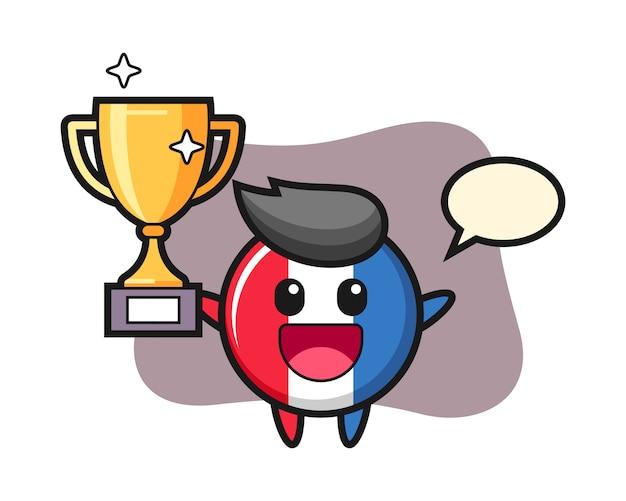 Cartoon illustration of france flag badge is happy holding up the golden trophy