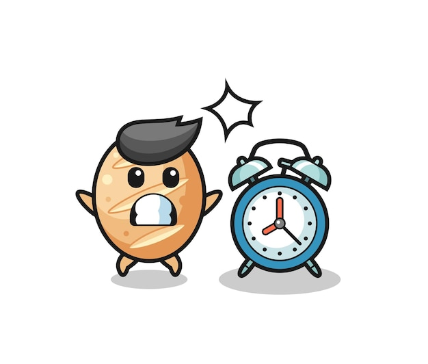 Cartoon illustration of french bread is surprised with a giant alarm clock , cute design