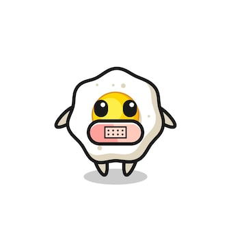 Cartoon illustration of fried egg with tape on mouth , cute style design for t shirt, sticker, logo element