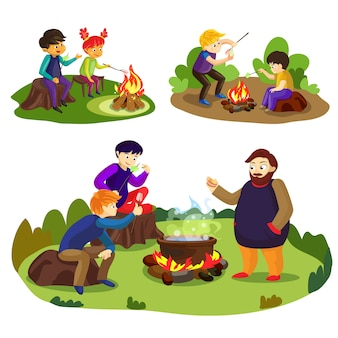 Cartoon illustration of friends and marshmallow