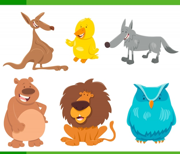 Cartoon illustration of funny animal characters