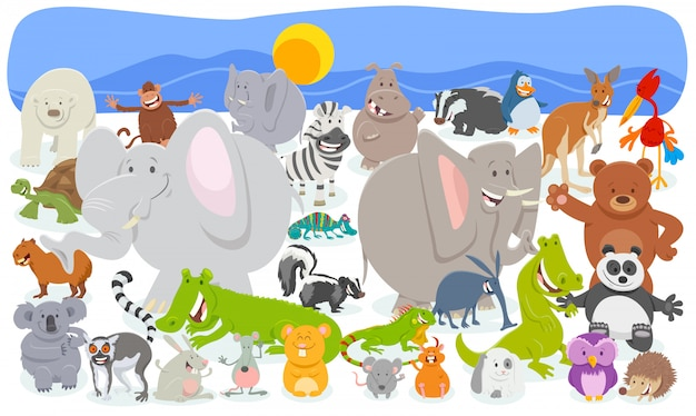Cartoon illustration of funny animal huge group