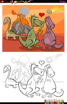 Cartoon illustration of funny dinosaurs characters in love coloring book activity