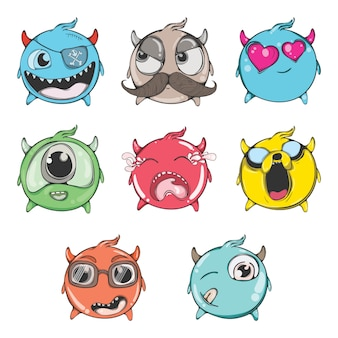 Cartoon illustration of funny emoji set.