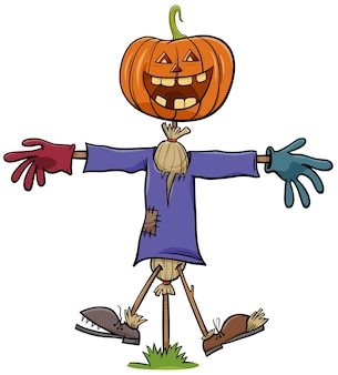 Cartoon illustration of funny halloween holiday scarecrow character