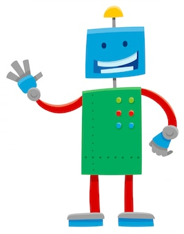Cartoon illustration of funny robot character