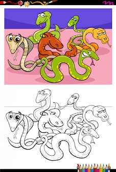Cartoon illustration of funny snakes coloring book