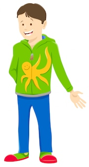 Cartoon illustration of funny teen or kid boy character