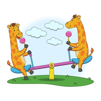Cartoon illustration of giraffe playing with a seesaw