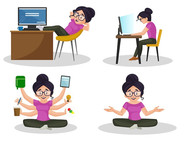 Cartoon illustration of girl graphic designer character set