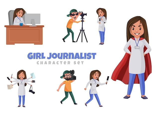 Cartoon illustration of girl journalist character set