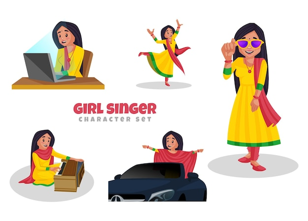 Cartoon illustration of girl singer character set