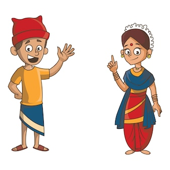 Cartoon illustration of goa couple.