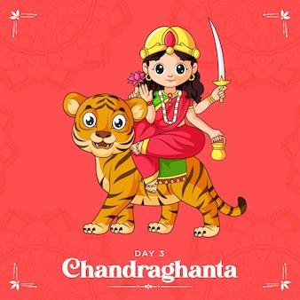 Cartoon illustration of goddess chandraghanta maa for navratri   banner day one of navratri festival
