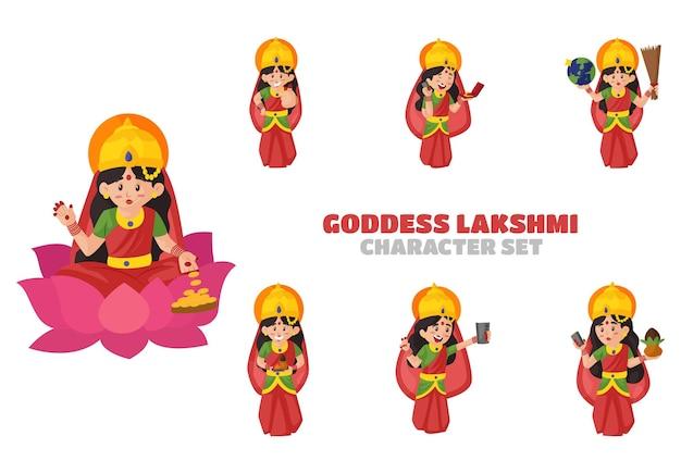 Cartoon illustration of goddess lakshmi character set