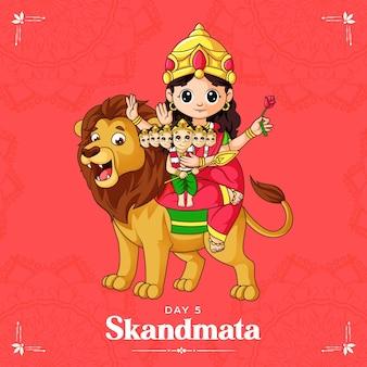 Cartoon illustration of goddess skandmata maa for navratri   banner day one of navratri festival