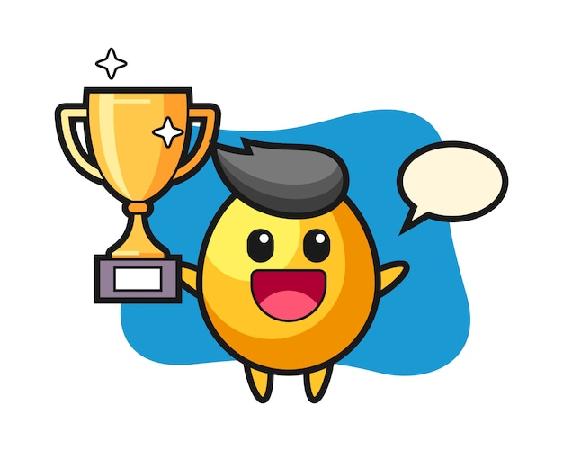 Cartoon illustration of golden egg is happy holding up the golden trophy, cute style design