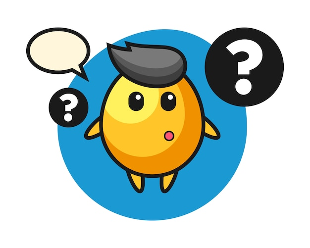 Cartoon illustration of golden egg with the question mark, cute style design
