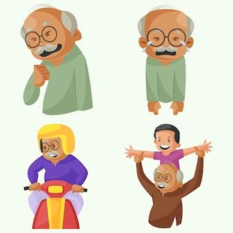 Cartoon illustration of grandfather character set