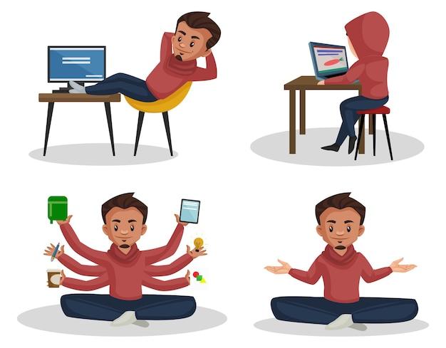 Cartoon illustration of graphic designer character set
