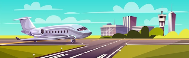 Cartoon illustration, gray airliner, jet on runway. takeoff or landing of commercial airplane